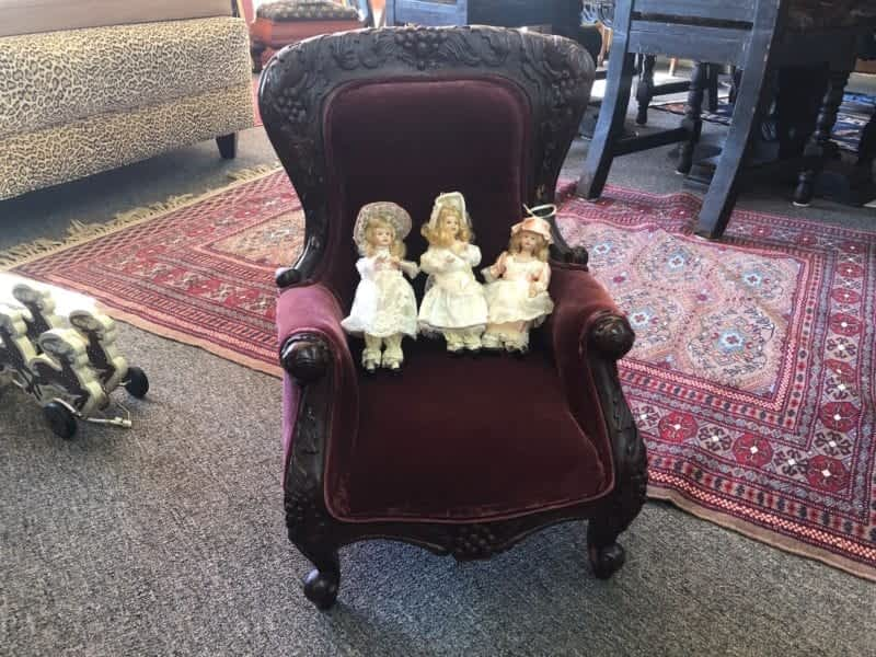 Children's Victorian Chair and dolls