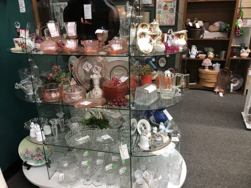 antique crystal and antique colored glass