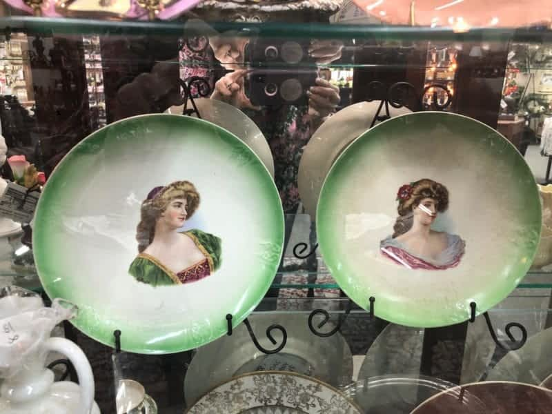 green antique portrait plates