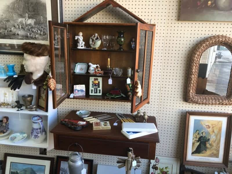 Antique shelves and cabinets