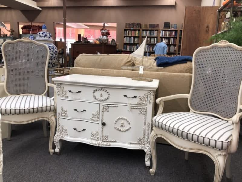 AE Whitewashed antique chest and chairs