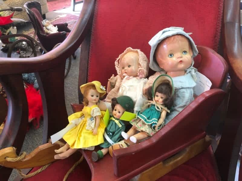 Antique Rocking Chair and Antique Colletible dolls